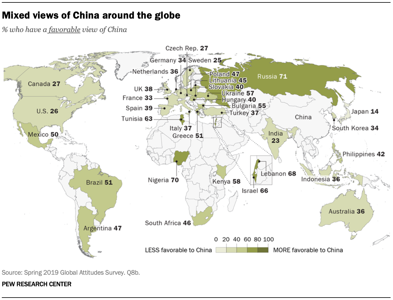 A map showing mixed views of China around the globe