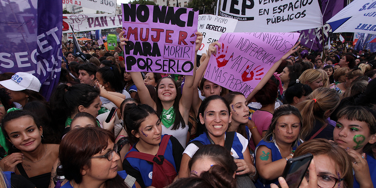 Women take part in a strike to demand gender equality and other rights in front of the Argentine Congress in Buenos Aires on March 9, 2020. (Carol Smiljan/NurPhoto via Getty Images)