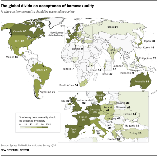 The global divide on acceptance of homosexuality - LGBTQ+