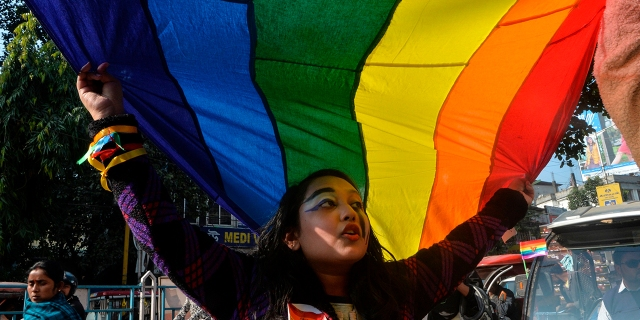 A member of the LGBT community takes part in a 2019 Pride walk in India. (Diptendu Dutta/AFP via Getty Images)