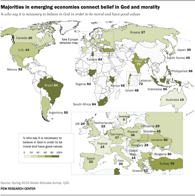 A map showing that majorities in emerging economies connect belief in God and morality
