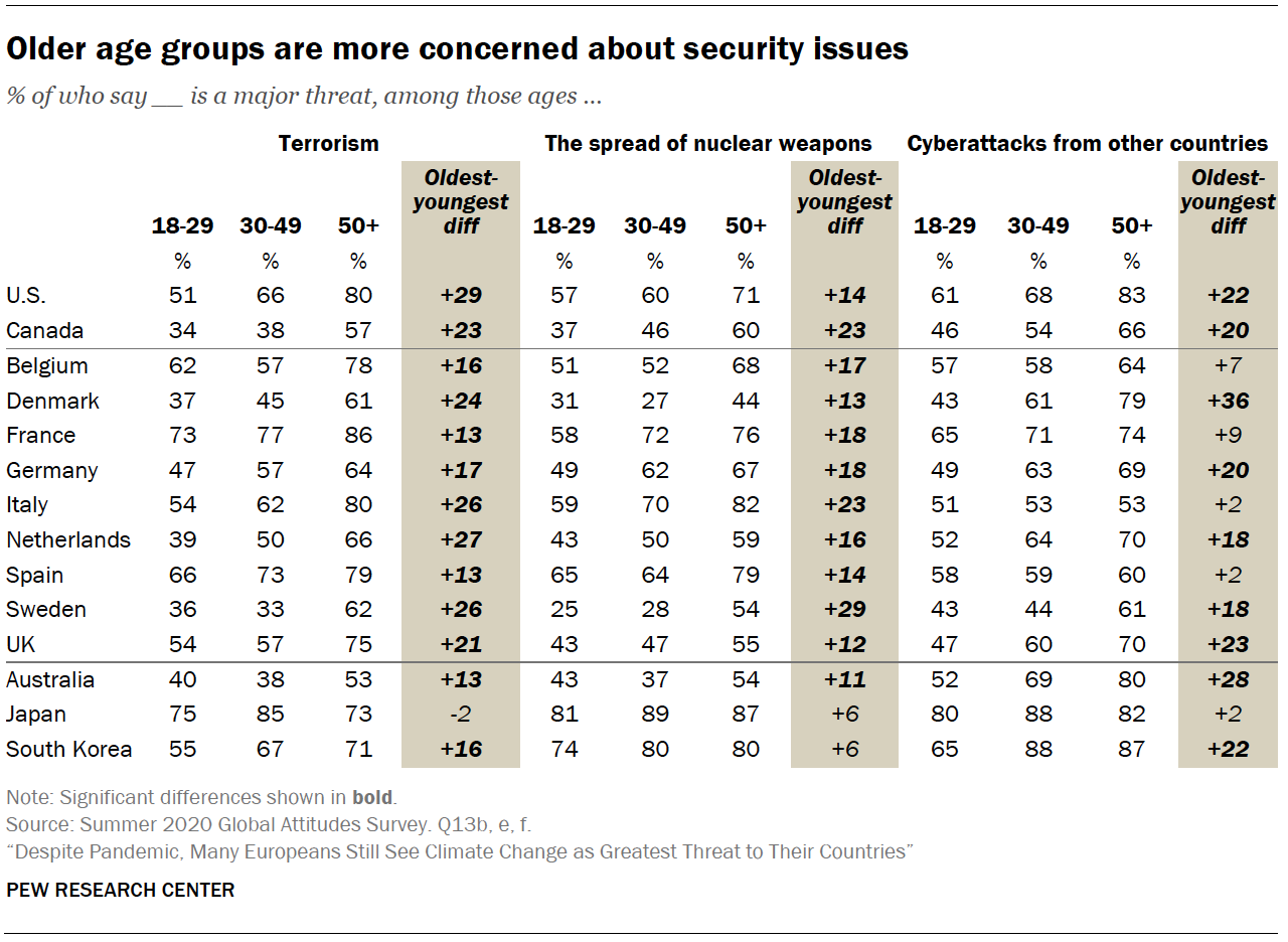 Chart shows older age groups are more concerned about security issues
