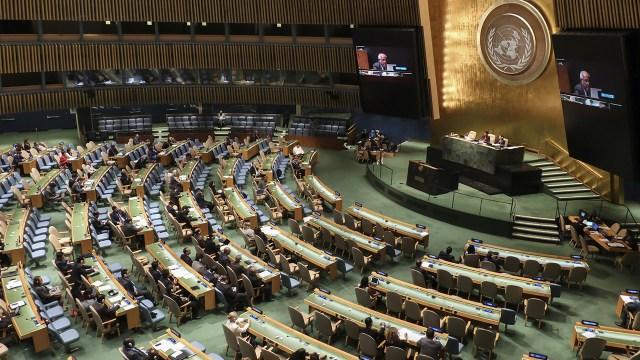 A speaker addressing the UN General Assembly in New York. (Bilgin S. Sasmaz/Anadolu Agency/Getty Images)