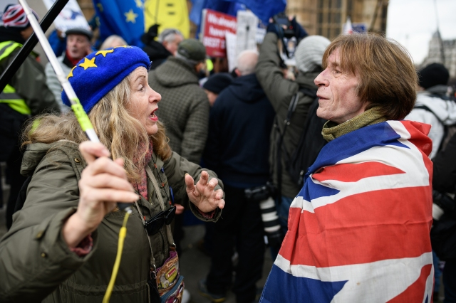 Protesters for and against the UK's withdrawal from the EU argue over the issue at a demonstration near the Houses of Parliament in London ahead of planned votes on Brexit amendments on Jan. 29, 2019.
