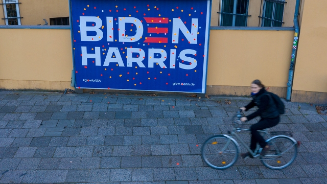 A billboard in Berlin on Nov. 12, 2020, days after Joe Biden was declared the winner of the U.S. presidential election. (Christian Ender/Getty Images)