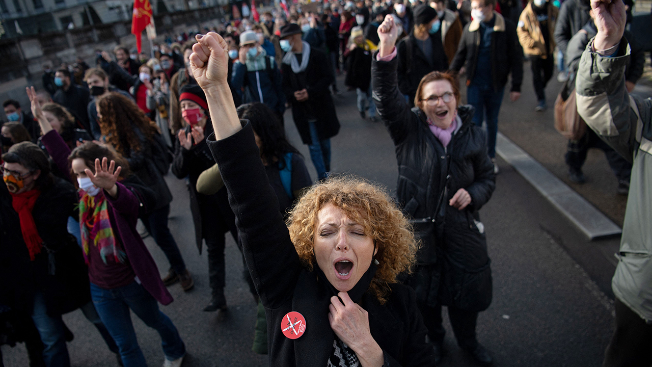 Entertainment industry workers demonstrate in Nantes, France, on Feb. 4 as part of a nationwide day of protests for the preservation and development of employment and public services. (Loic Venance/AFP via Getty Images)