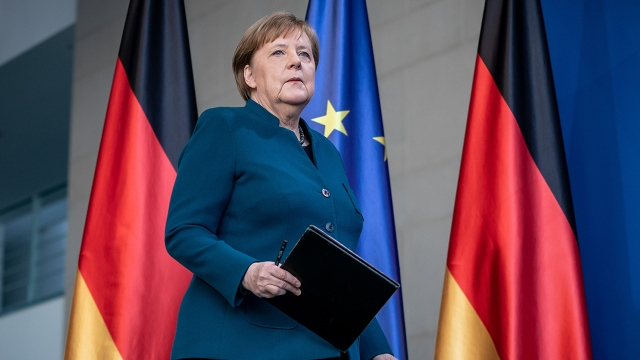 Chancellor Angela Merkel at the Chancellery in Berlin in March 2020. (Michael Kappeler/Pool/AFP via Getty Images)