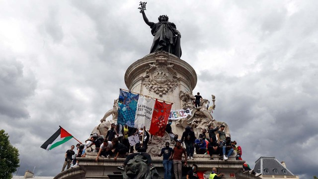 Protesters rally as part of a wave of worldwide protests against racism and police brutality on Place de la Republique in Paris in June 2020. (Mehdi Taamallah/NurPhoto via Getty Images)