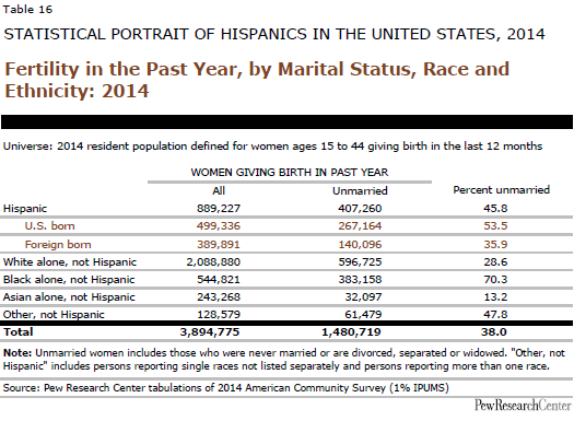 Fertility in the Past Year, by Marital Status, Race and Ethnicity: 2014