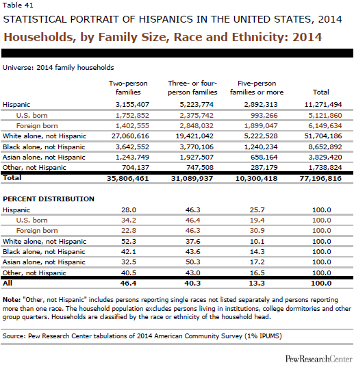 Households, by Family Size, Race and Ethnicity: 2014