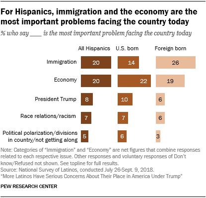 Chart showing that for Hispanics, immigration and the economy are the most important problems facing the country today.