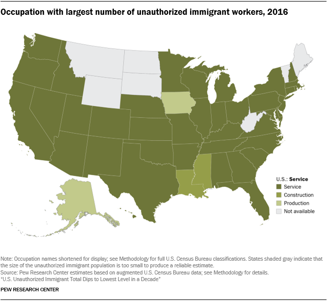 U.S. map showing the occupation with the largest share of workers who are unauthorized immigrants by state in 2016.