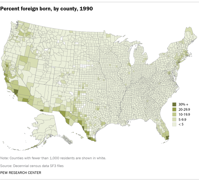 Percent foreign born, by county, 1990