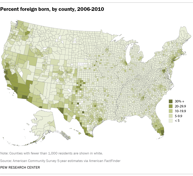 Percent foreign born, by county, 2006-2010
