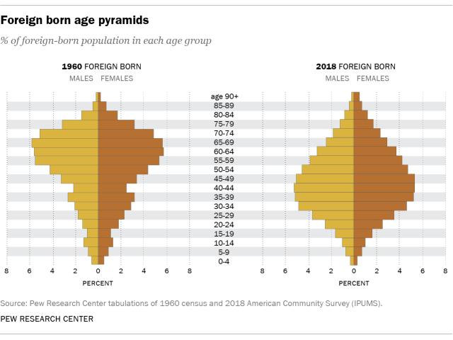 Foreign born age pyramids