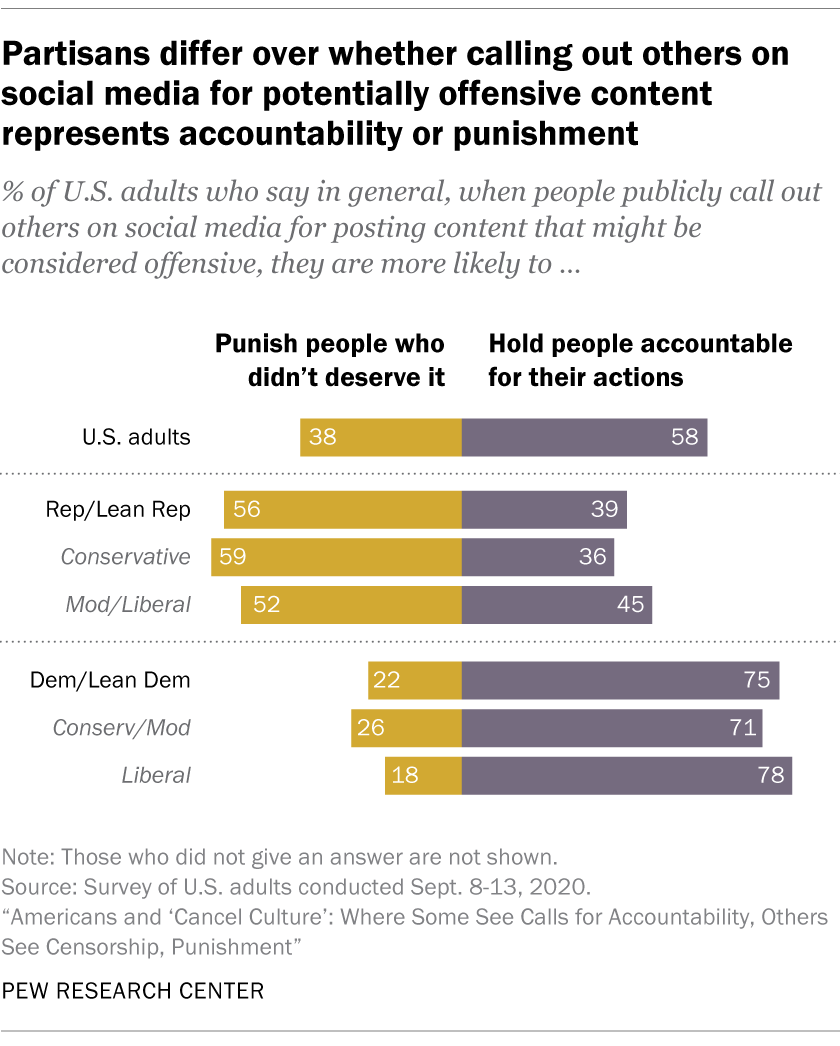 Partisans differ over whether calling out others on social media for potentially offensive content represents accountability or punishment