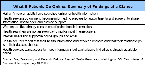 What E-Patients Do Online: Summary of Findings at a Glance