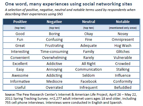 One word, many experiences using social networking sites