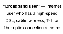 """""""Broadband user"""" — Internet user who has a high-speed DSL, cable, wireless, T-1, or fiber optic connection at home"""