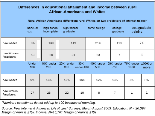 Differences in educational attainment and income between rural African-Americans and Whites