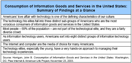 Consumption of Information Goods and Services in the United States: Summary of Findings