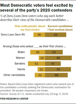 Most Democratic voters feel excited by several of the party's 2020 contenders