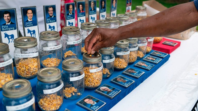 "A photo of people put kernels into jars representing presidential candidates in a ""corn poll"" at the the Iowa State Fair on Aug. 11. (Alex Edelman/AFP/Getty Images)"
