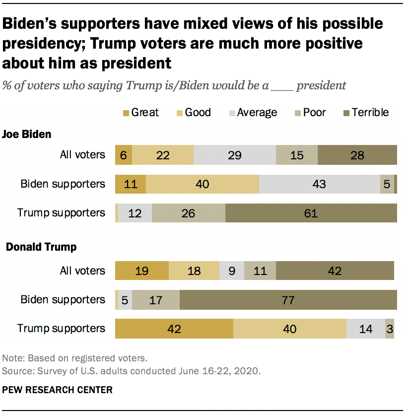 Biden's supporters have mixed views of his possible presidency; Trump voters are much more positive about him as president