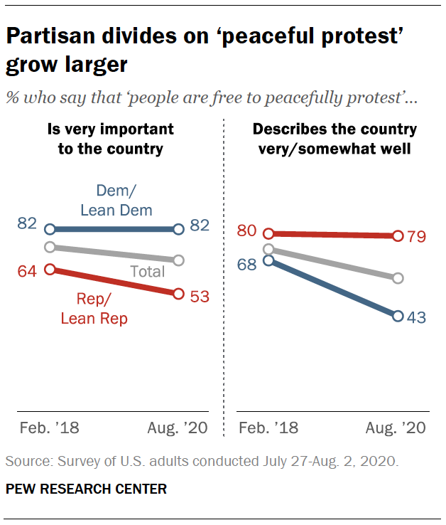 Partisan divides on 'peaceful protest' grow larger