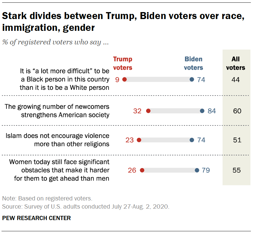 Stark divides between Trump, Biden voters over race, immigration, gender