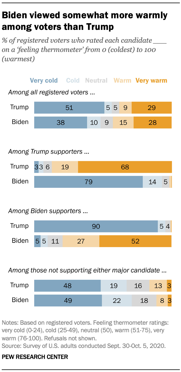 Biden viewed somewhat more warmly among voters than Trump
