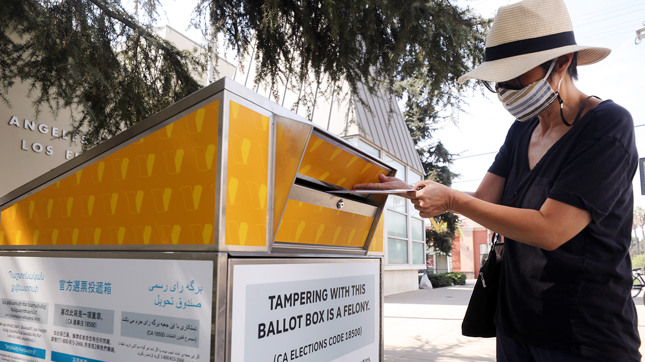 A ballot drop-off box outside a Los Angeles library on Oct. 5. (Mario Tama/Getty Images)