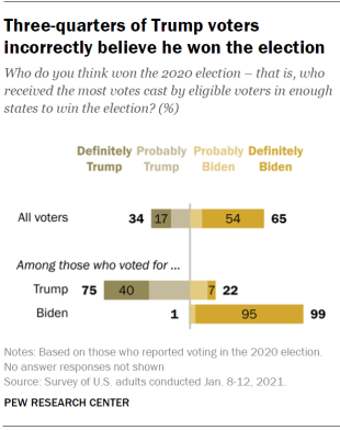 Chart shows three-quarters of Trump voters incorrectly believe he won the election