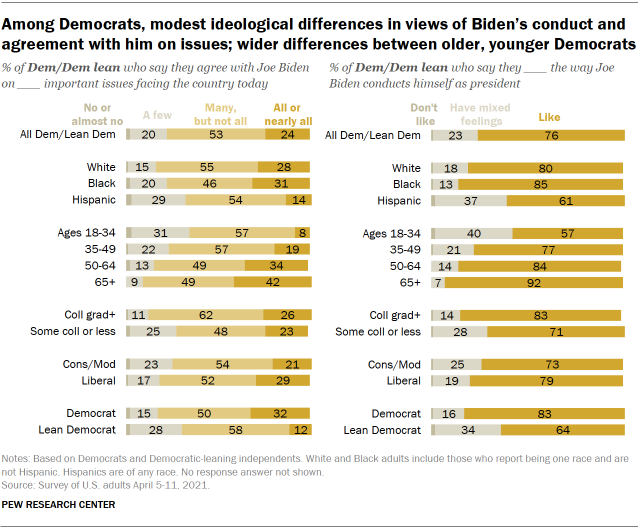 Chart shows among Democrats, modest ideological differences in views of Biden's conduct and agreement with him on issues; wider differences between older, younger Democrats