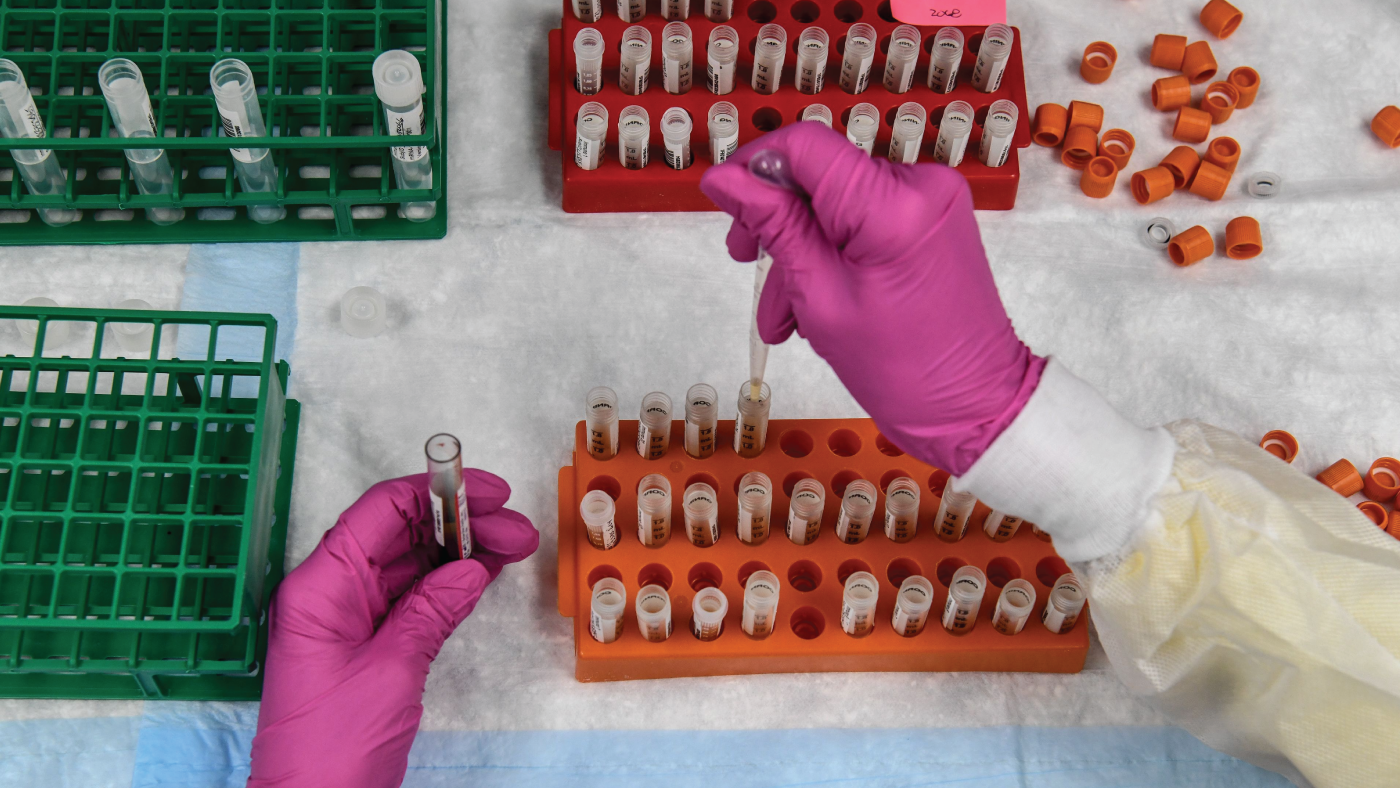 Photo shows a lab technician sorting blood samples for a COVID-19 vaccination study. (Chandan Khanna/AFP via Getty Images)