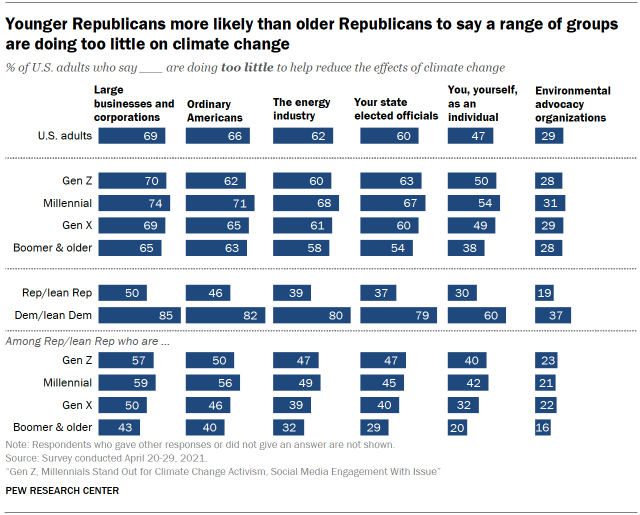 Chart shows younger Republicans more likely than older Republicans to say a range of groups are doing too little on climate change