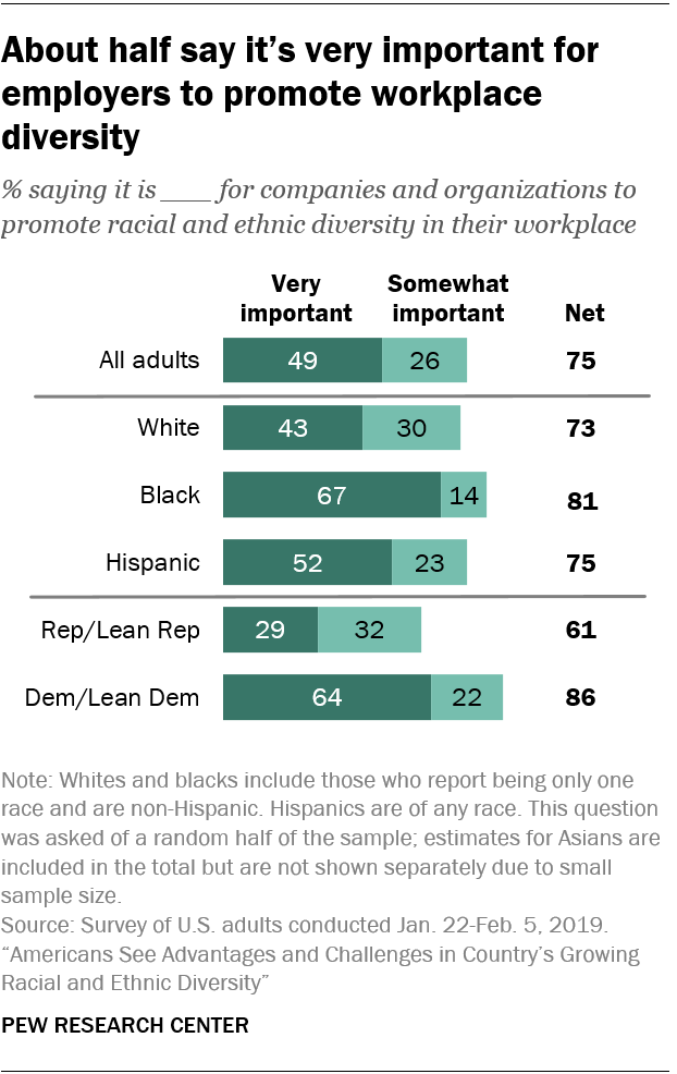 About half say it's very important for employers to promote workplace diversity