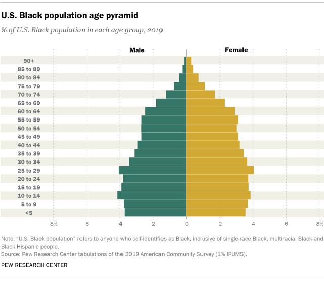 Chart showing U.S. Black population age pyramid