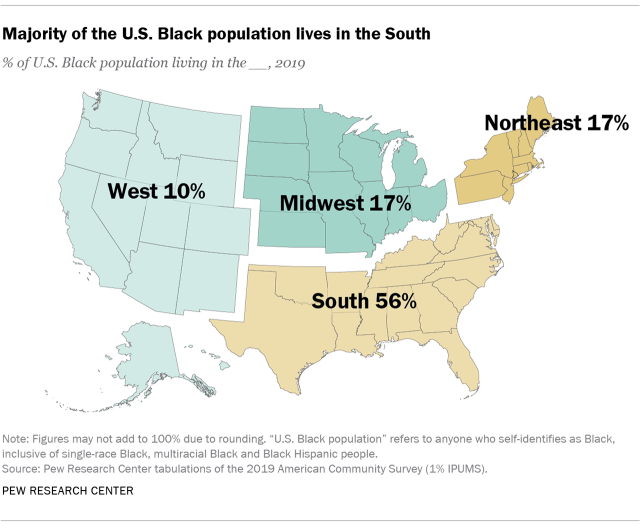 Map showing that the majority of the U.S. Black population lives in the South