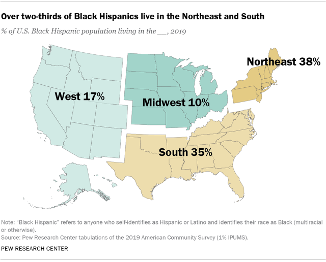 Map showing that over two-thirds of Black Hispanics live in the Northeast and South