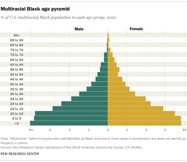 Chart showing multiracial Black age pyramid