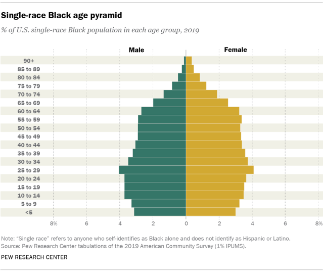 Chart showing the single-race Black age pyramid