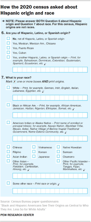 How the 2020 census asked about Hispanic origin and race