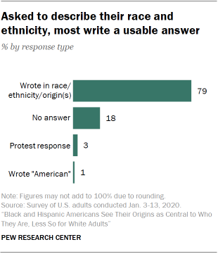 Asked to describe their race and ethnicity, most write a usable answer