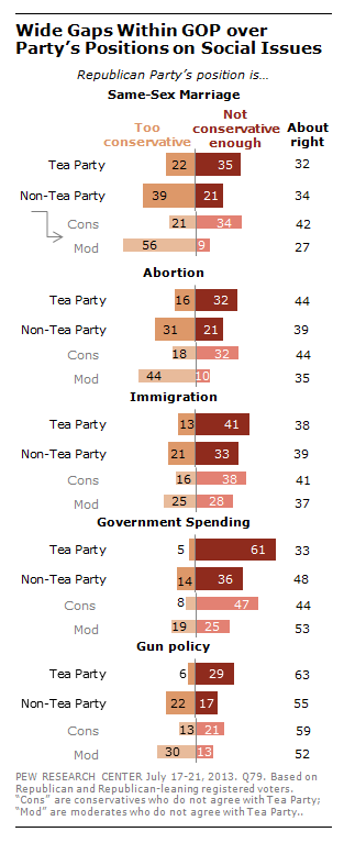 Wide gaps among Republicans on social issues