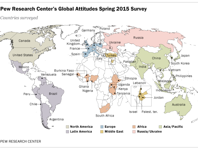 Key takeaways on how the world views the us and china pew research centers global attitudes spring 2015 survey map gumiabroncs Images