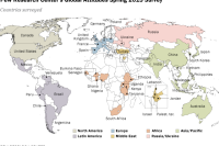 Pew Research Center's global attitudes spring 2015 survey map