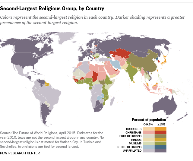 What Is Each Country S Second Largest Religious Group Pew