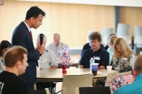 Louisiana Gov. Bobby Jindal leads guests in prayer at the Story County GOP breakfast at Oakwood Church May 16, 2015 in Ames, Iowa. Jindal and several other Republican presidential hopefuls are attending events in the state this weekend. (Photo by Scott Olson/Getty Images)
