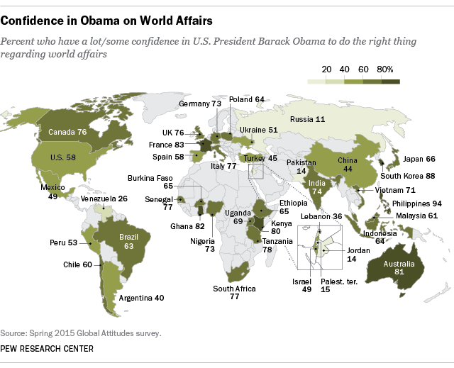 7 charts on how the world views President Obama   Pew Research Center